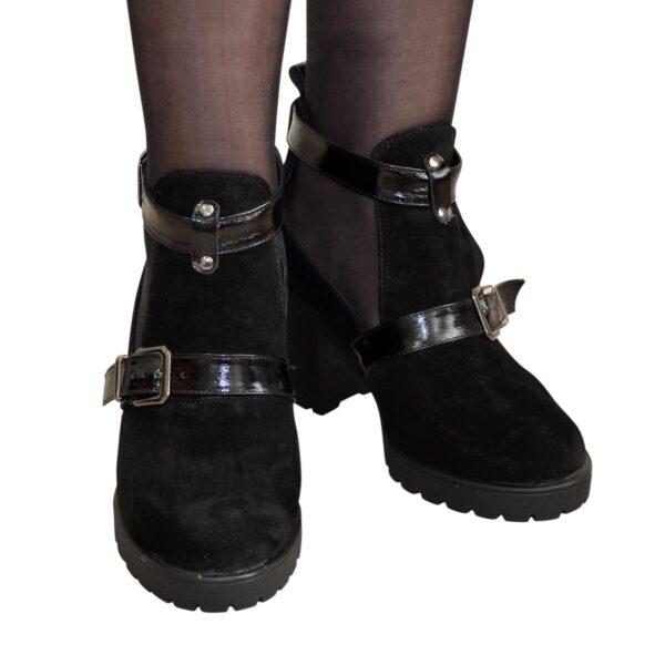 Открытые ботильоны замшевые женские на каблуке