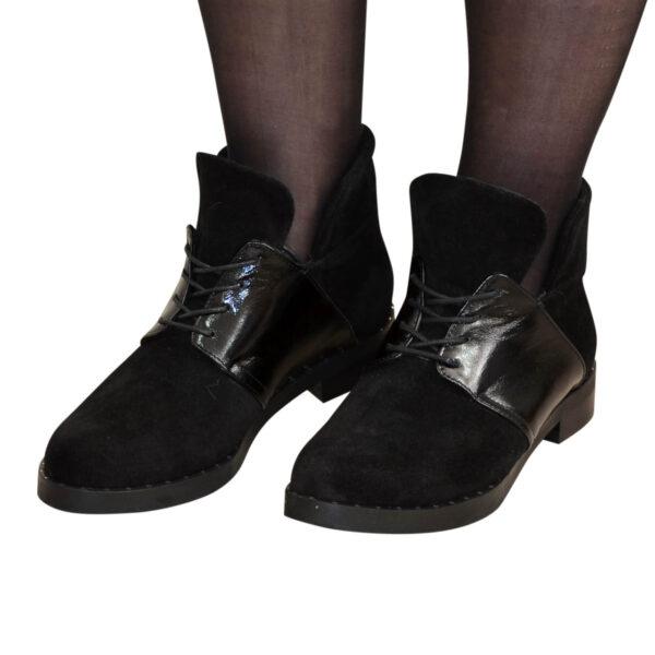Ботинки женские зимние замшевые на невысоком каблуке