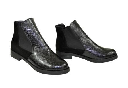 ботинки женские осень-зима на низком ходу, натуральная замша и кожа питон/цвет черный