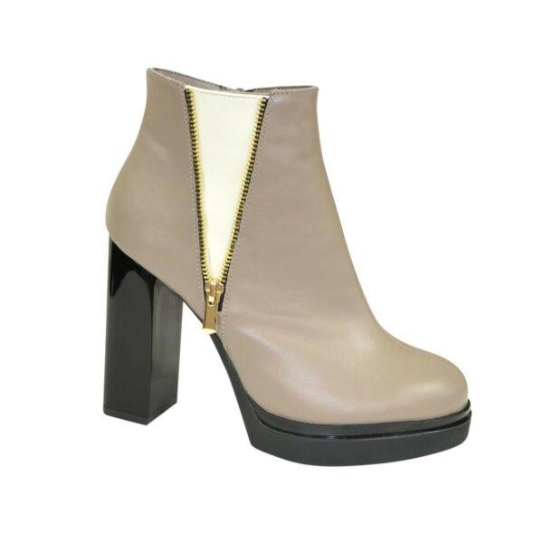 Полуботинки зимние женские на высоком каблуке, цвет визон/бежевый