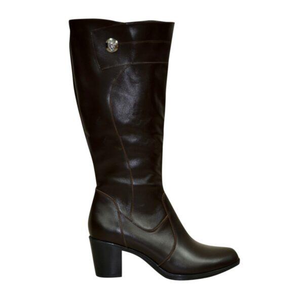 Кожаные женские зимние сапоги на невысоком каблуке, коричневый цвет