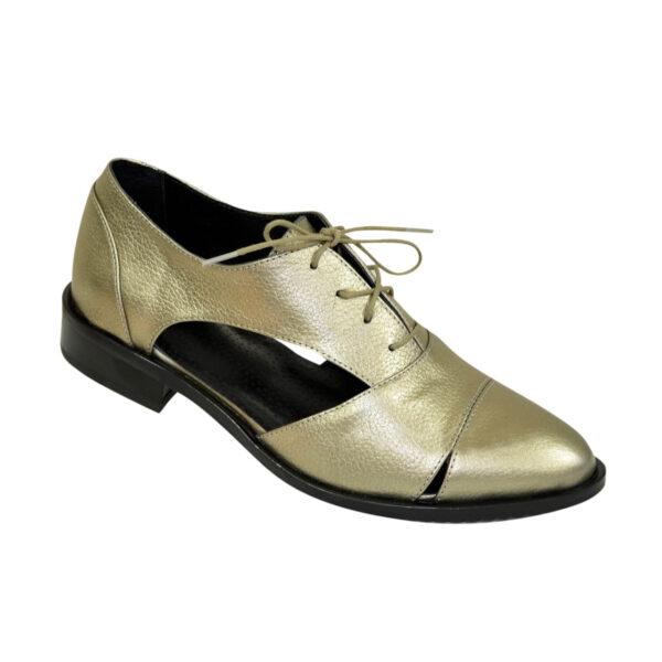 Кожаные туфли женские на низком ходу, цвет бронза