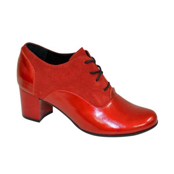 Туфли женские на устойчивом каблуке, натуральная замша и кожа красного цвета