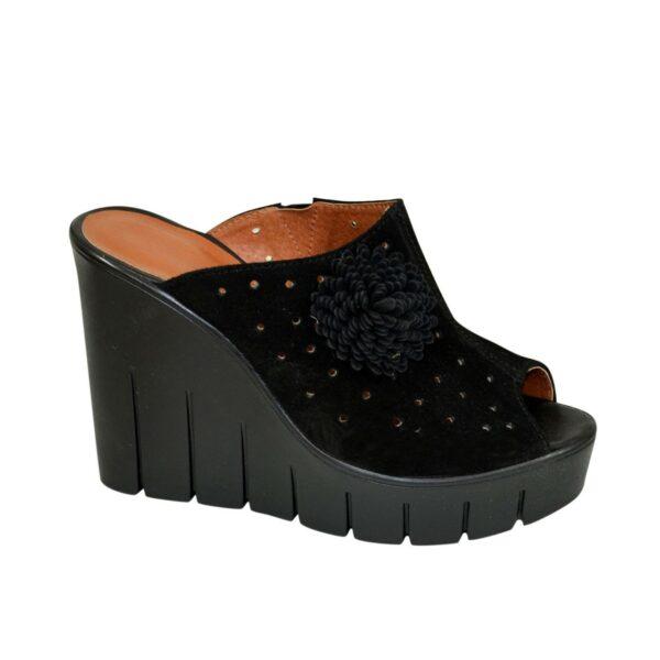 Женские замшевые черные сабо на платформе с открытым носочком