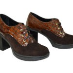 Женские коричневые туфли на устойчивом каблуке