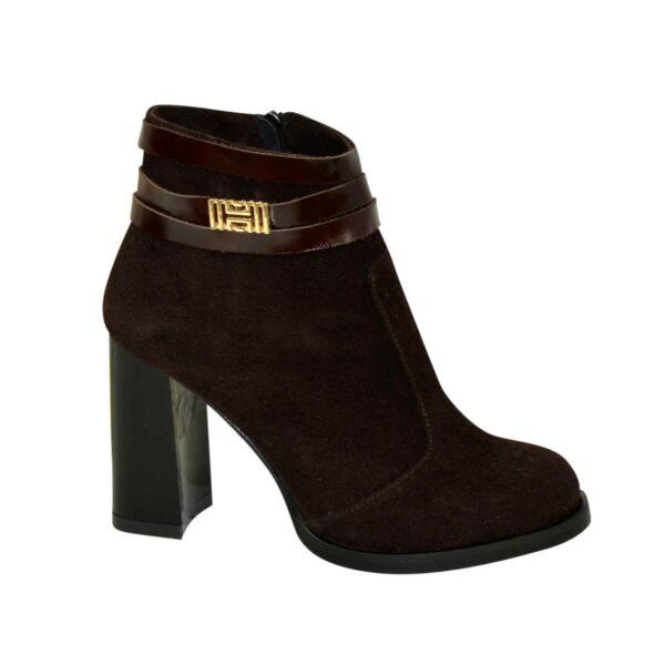 Ботинки демисезонные женские замшевые на устойчивом каблуке, цвет коричневый