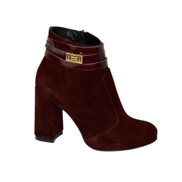 Ботинки зимние женские замшевые на устойчивом каблуке, цвет бордо