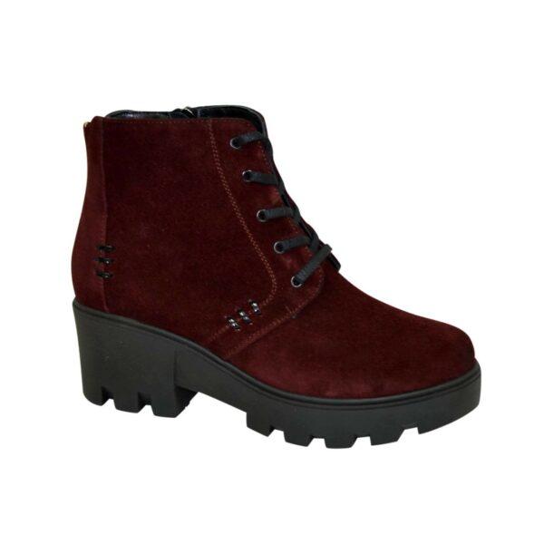 Женские зимние замшевые ботинки на шнуровке, бордовый цвет