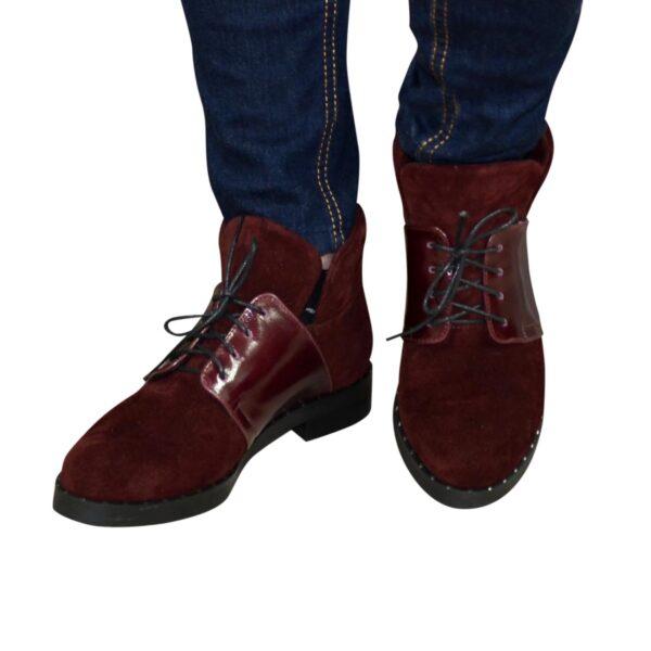 Ботинки женские зимние бордовые на невысоком каблуке