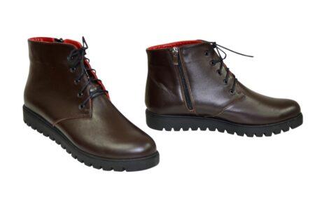 Ботинки женские коричневые кожаные на шнуровке зима осень, утолщенная подошва