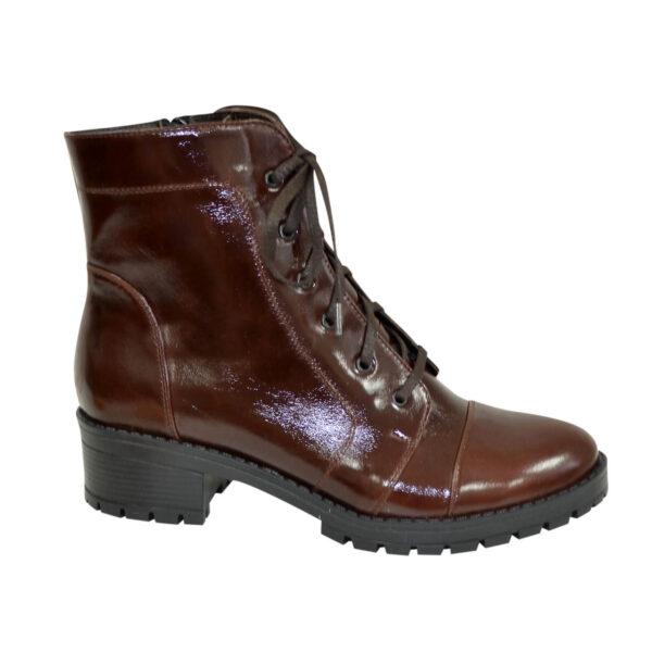 Ботинки коричневые женские зимние на устойчивом каблуке, натуральная кожа рабат