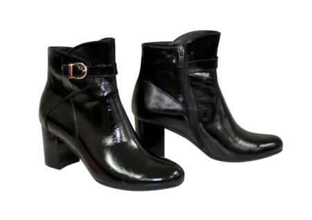 женские зима осень ботинки, натуральный лак на широком устойчивом каблуке, цвет черный