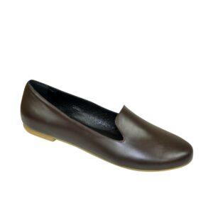 Женские туфли-балетки из натуральной гладкой кожи на низком ходу, цвет коричневый