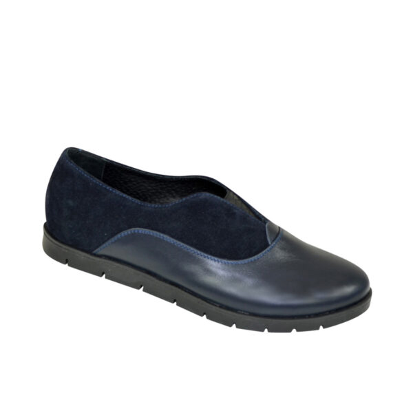 Женские синие туфли на утолщенной подошве, натуральная кожа и замша