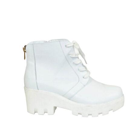 женские кожаные ботинки зима-осень со шнуровкой на тракторной подошве,цвет белый