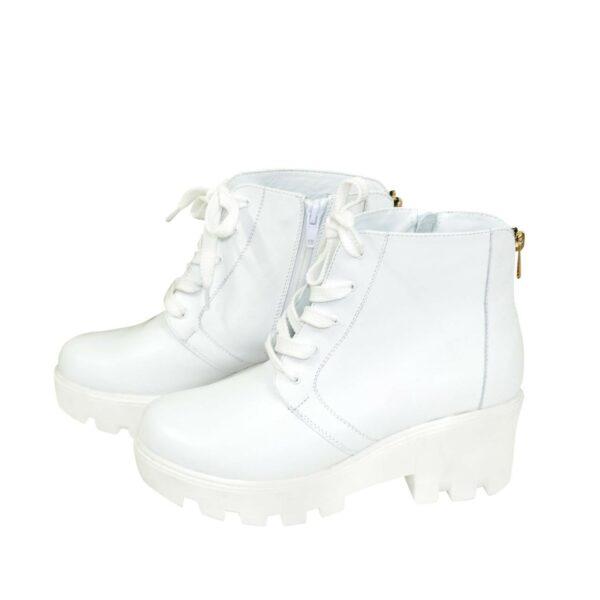 Ботинки женские демисезонные кожаные на шнуровке, белый цвет