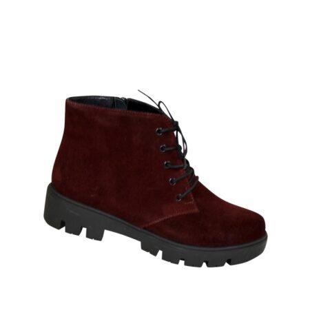 Ботинки зима осень женские бордовые замшевые на шнуровке, тракторная подошва