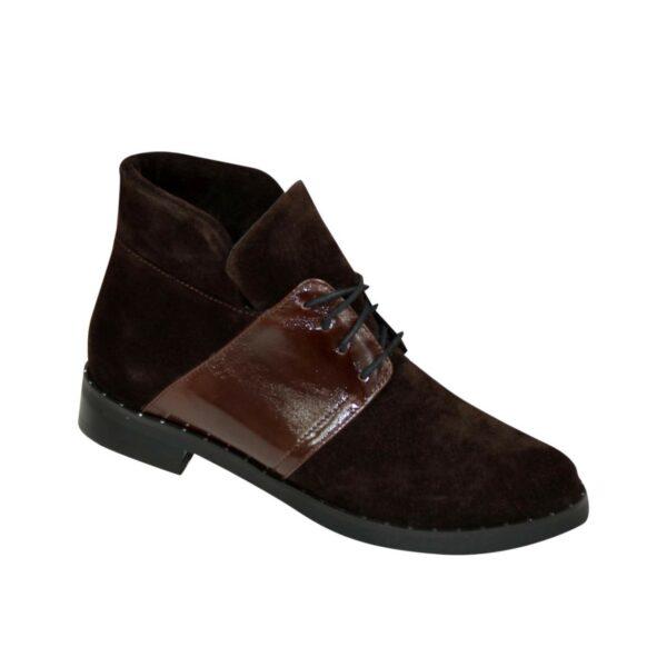 Ботинки женские зимние коричневые на невысоком каблуке