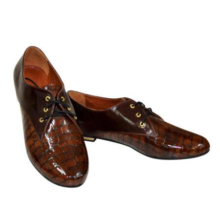 Туфли женские низкий ход коричневые кожа+крокодил, на шнуровке