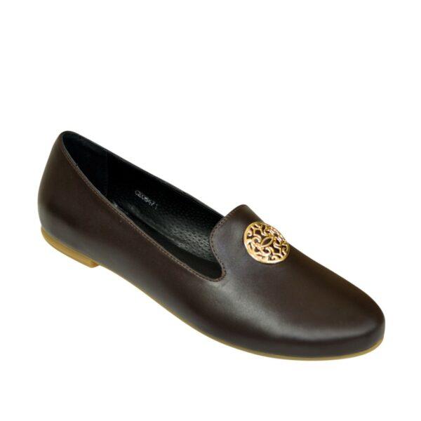 Женские кожаные коричневые туфли на низком ходу