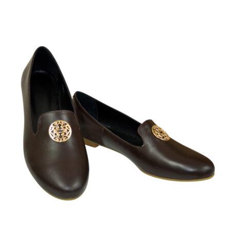 Женские туфли из натуральной кожи цвет коричневый на низком ходу
