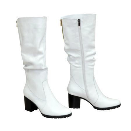 Сапоги женские белые кожаные зима осень на устойчивом каблуке