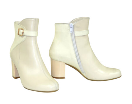 женские ботинки зимние осенние на широком устойчивом каблуке, цвет беж