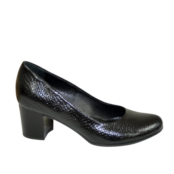 Женские черные туфли на устойчивом каблуке, натуральная кожа питон
