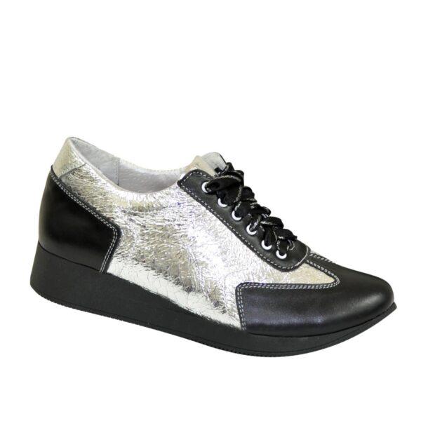 Туфли-кроссовки кожаные женские на утолщенной подошве, серебро/черный цвет