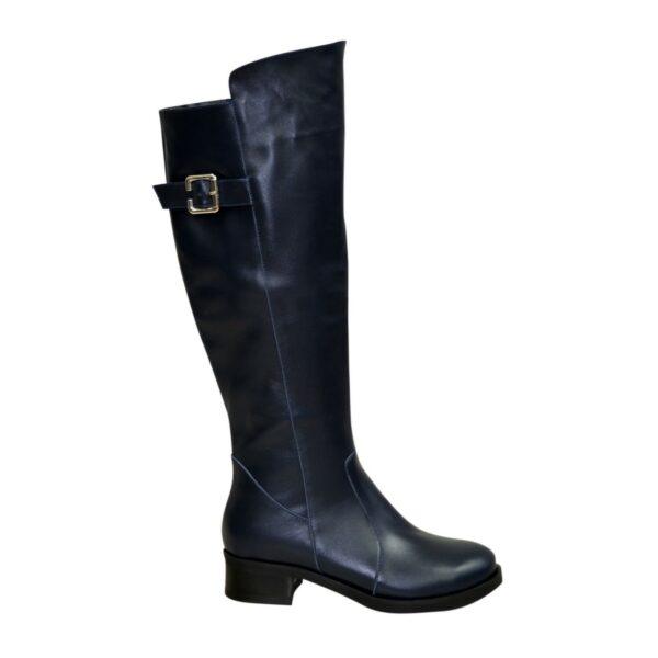 Сапоги женские зимние кожаные на невысоком устойчивом каблуке, цвет синий