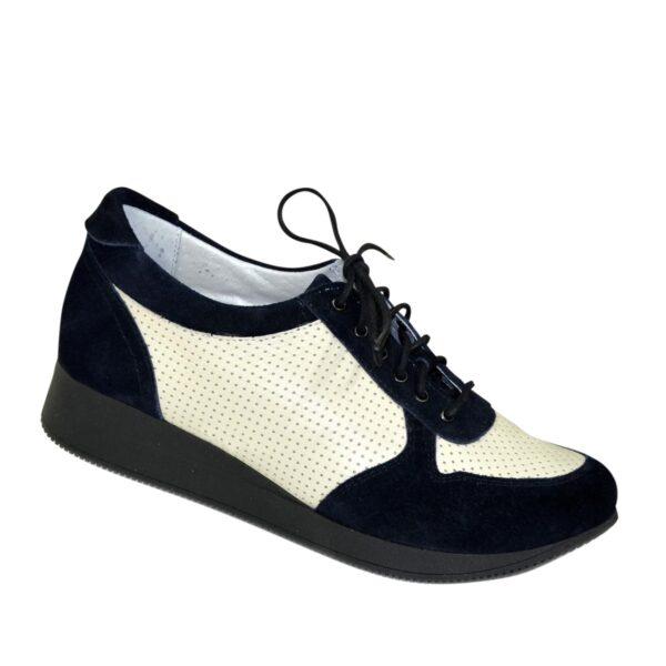 Стильные кроссовки женские на шнуровке, цвет синий/бежевый