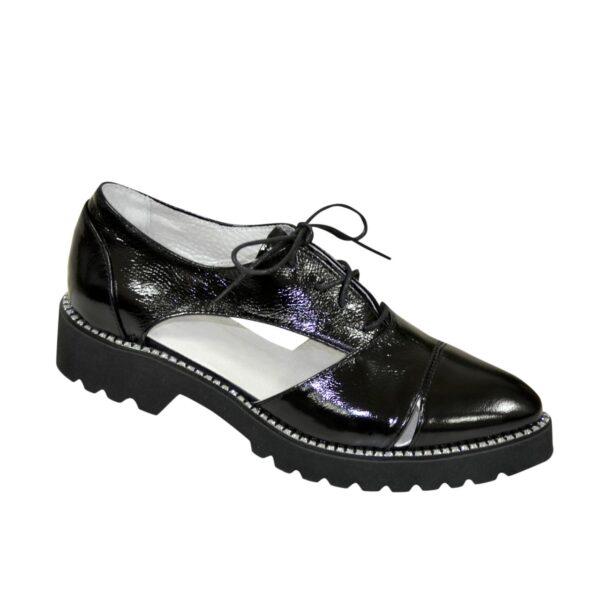 Лаковые туфли женские на шнуровке, цвет черный