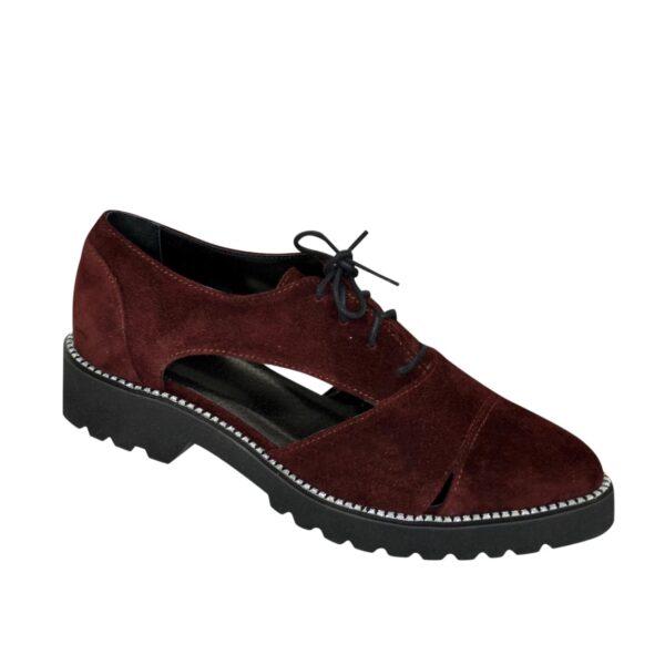 Замшевые туфли женские на шнуровке, цвет бордовый