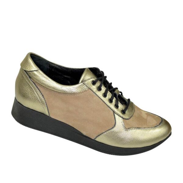 Стильные туфли-кроссовки женские на шнуровке, цвет бронза/бежевый