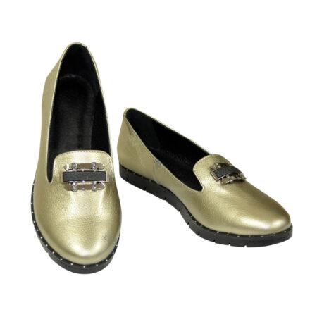 Женские туфли из натуральной кожи на низком ходу, цвет бронза