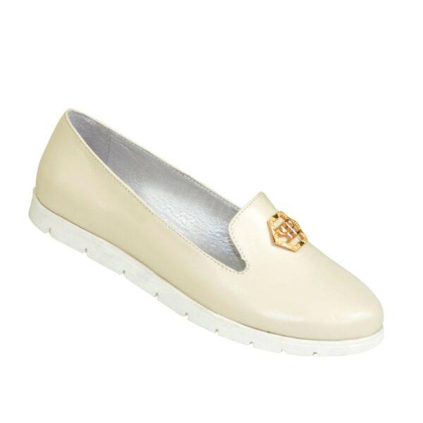 Женские кожаные туфли-мокасины на утолщенной белой подошве