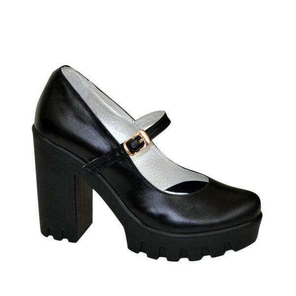 Женские черные кожаные туфли на высоком каблуке