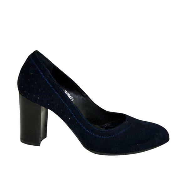 Замшевые синие женские туфли на устойчивом высоком каблуке