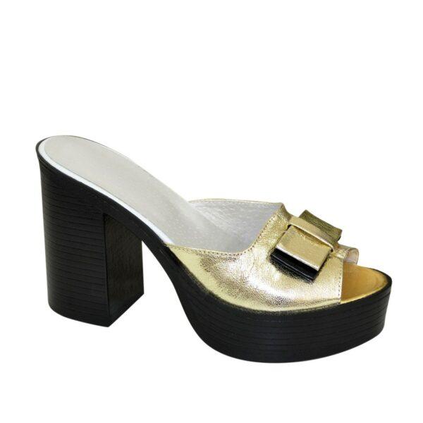 Сабо кожаные женские на устойчивом каблуке, цвет золото