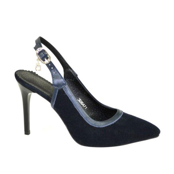 Стильные синие туфли женские на шпильке, натуральная кожа и замша