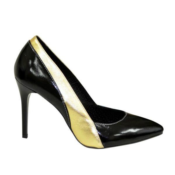 Классические женские лаковые туфли на шпильке, цвет черный/золото