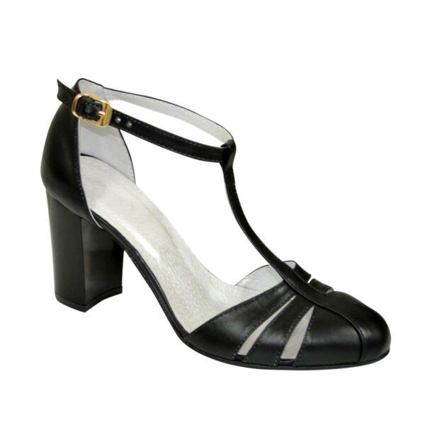 Босоножки женские кожаные на высоком устойчивом каблуке, цвет черный