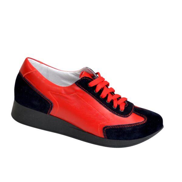 Туфли-кроссовки женские на утолщенной подошве, синий/красный цвет