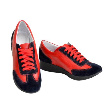 кроссовки женские на утолщенной подошве, с мягким кантом и мягким языком синий/красный цвет