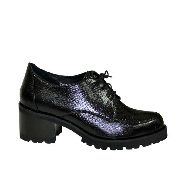 Туфли женские на невысоком каблуке, натуральная кожа питон