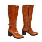 Сапоги женские демисезонные кожаные на устойчивом каблуке, цвет рыжий