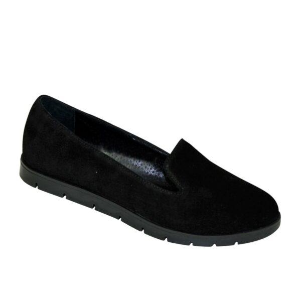 Туфли женские замшевые на утолщенной черной подошве, цвет черный