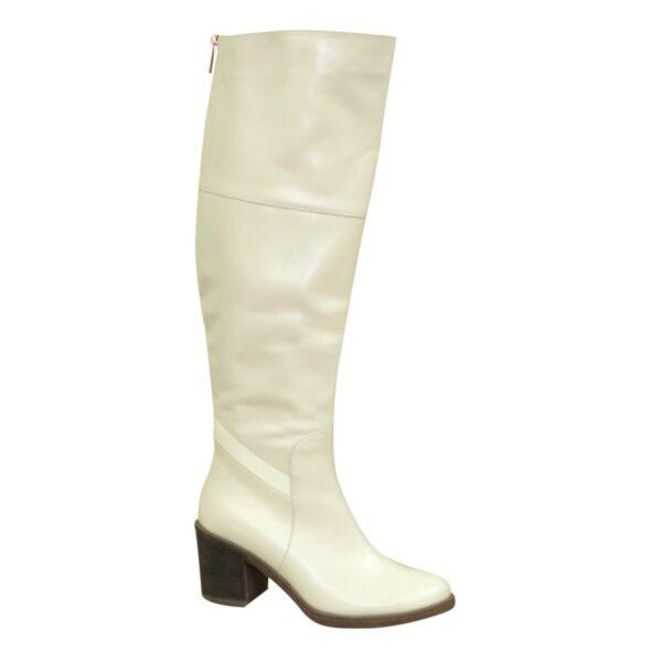 Ботфорты кожаные демисезонные на устойчивом каблуке, цвет бежевый