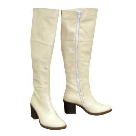 Ботфорты кожаные осень зима на устойчивом каблуке, цвет бежевый