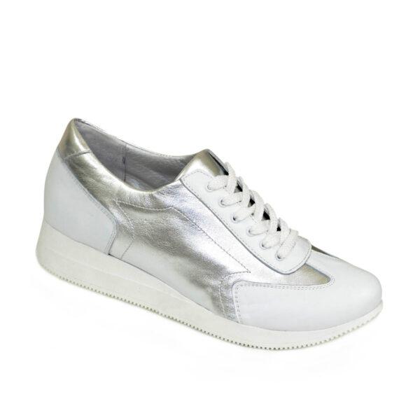 Туфли-кроссовки кожаные женские на утолщенной подошве, серебро/белый цвет